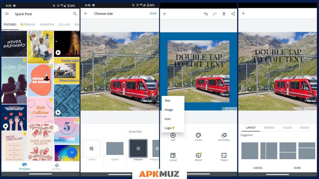 Adobe Sparkle Post app screens