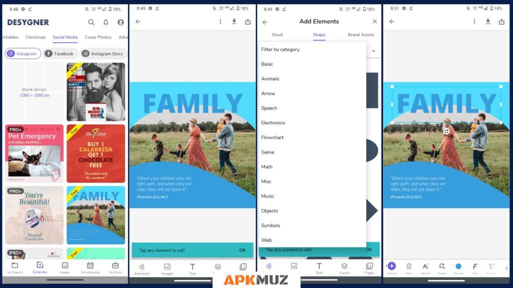 Desygner App Screens