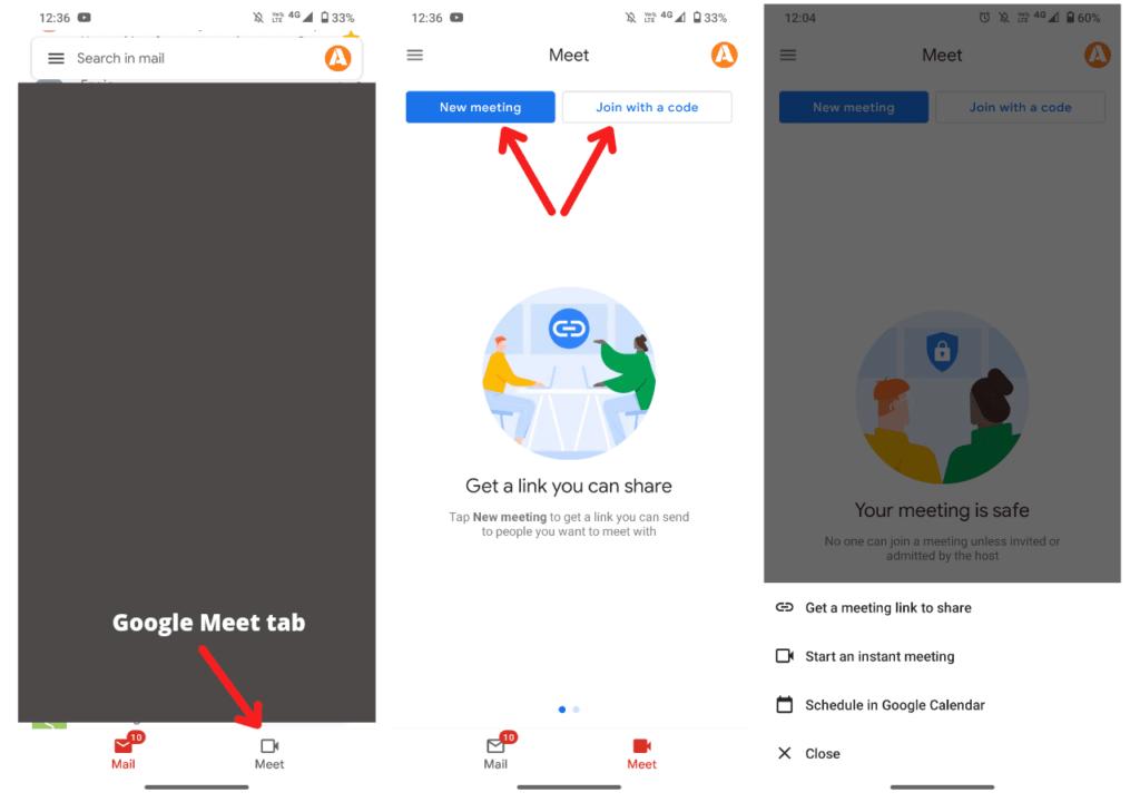 Join Google Meet through Gmail