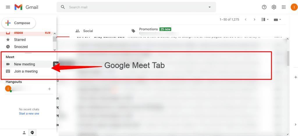Use google meet on gmail desktop